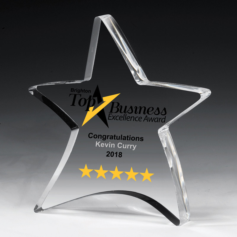 "3/4"" Thick Moving Star Paperweight - 4-1/2"" x 5"" (Laser)"