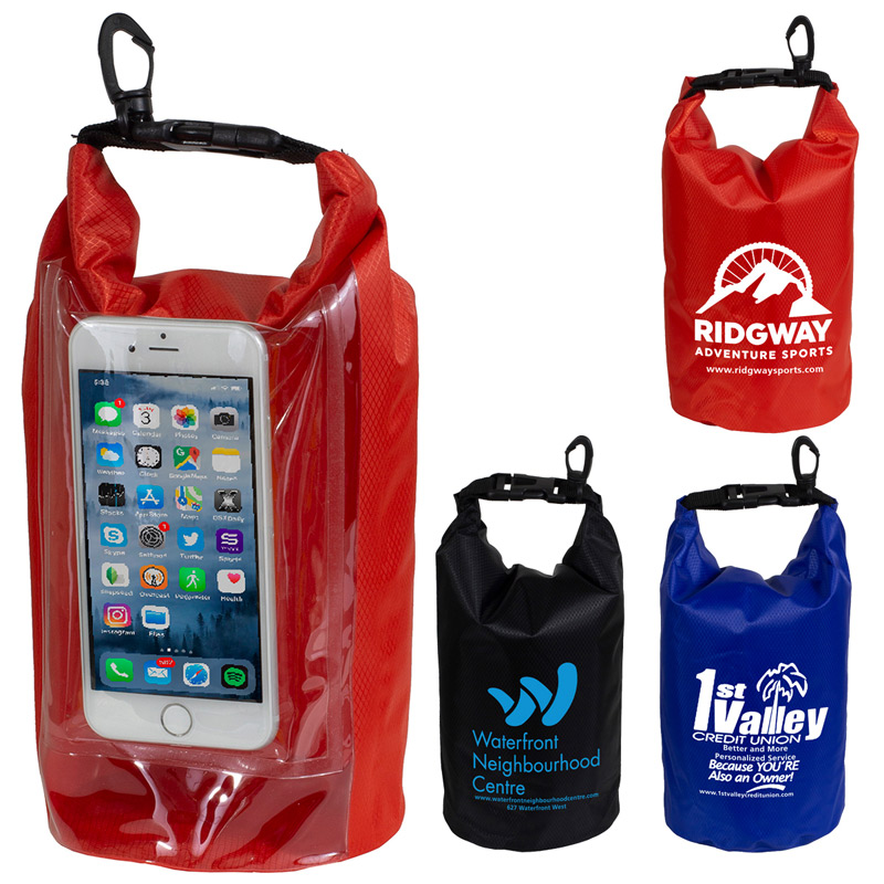 """The Navagio"" 2.5 Liter Water Resistant Dry Bag With Clear Pocket Window"