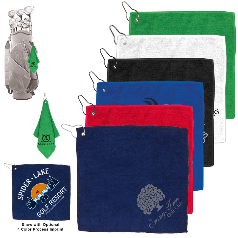 300GSM Heavy Duty Microfiber Golf Towel with Metal Grommet and Clip