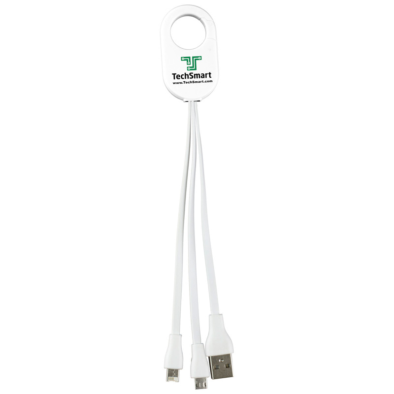 """Weber"" 3-in-1 Charging Cable For Cell Phones and Tablets with Carabiner Type Spring Clip"