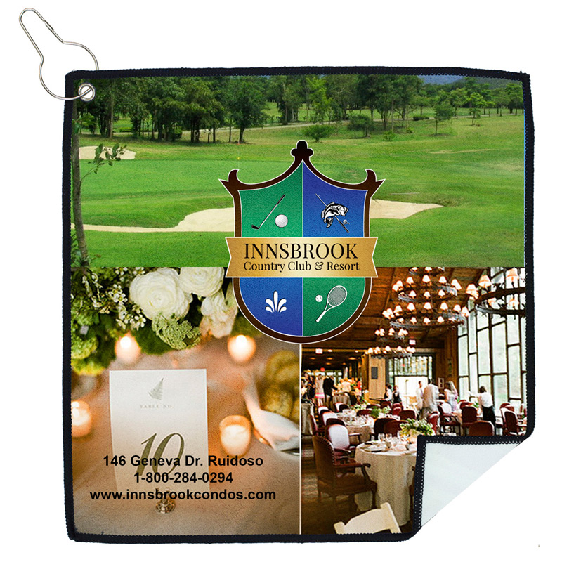 """˜Tee Off' PhotoImage ® Full Color Imprint Suede Golf Towel"