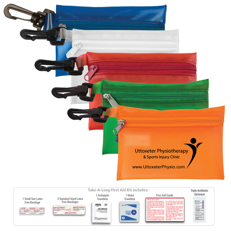 """Take-A-Long Kit 2"" 8 Piece First Aid Kit with Carabiner"