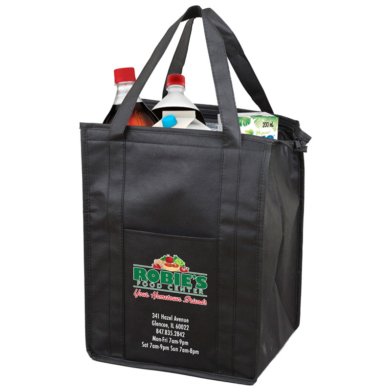 "12"" W x 16"" H x 10"" G - ""Super Cooler"" Large Insulated Cooler Zipper Tote Bag"