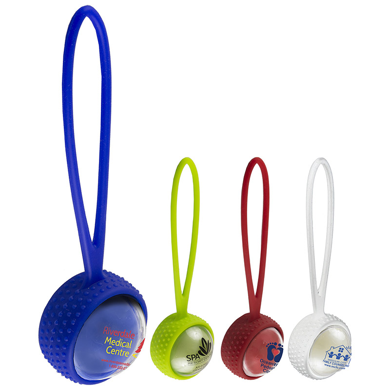 """Cora""Clear Cover Vanilla Scented Lip Moisturizer Ball with Leash Strap"