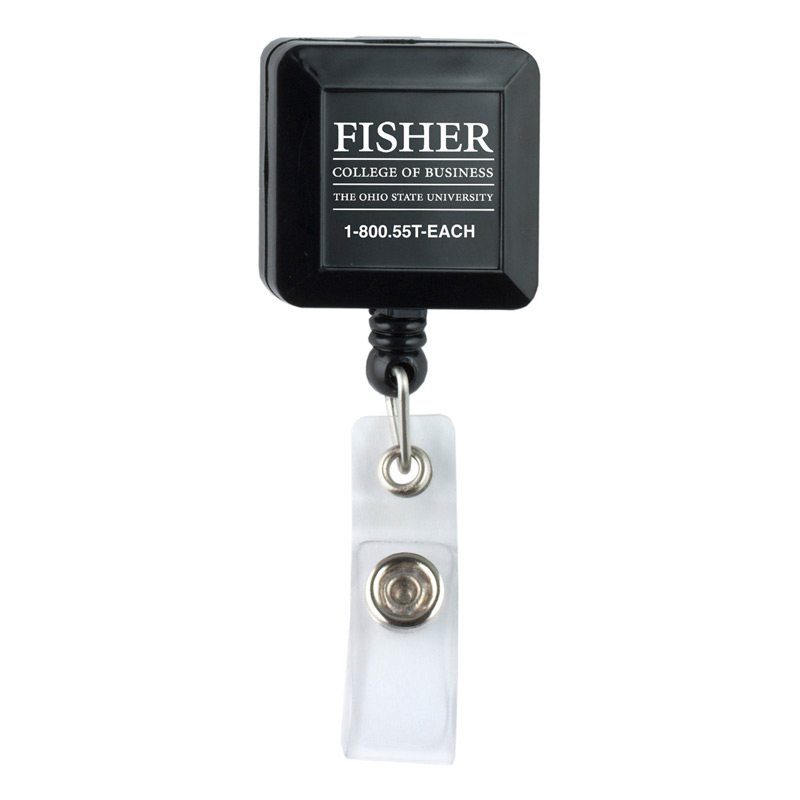 "30"" Cord Square Retractable Badge Reel and Badge Holder with Metal Rotating Alligator Clip Backing (Spot Color Print)"