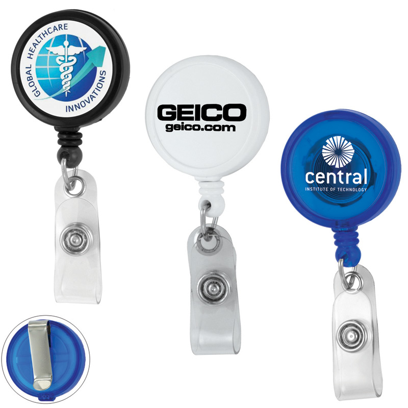 30 Cord Round Jumbo Imprint Retractable Badge Reel with Metal Slip Clip Backing and Badge Holder