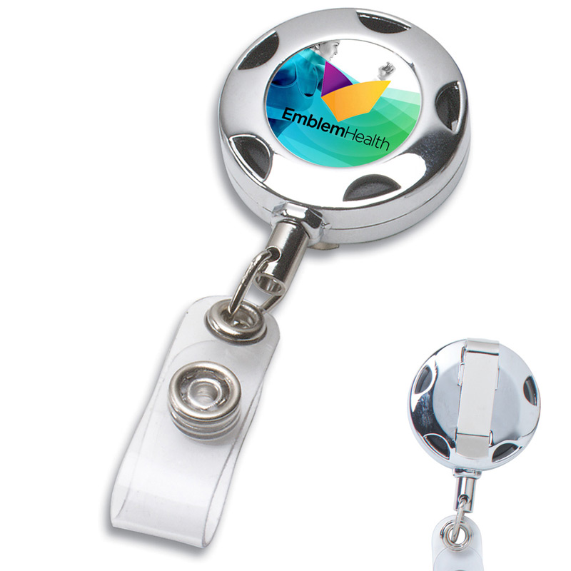 "32"" Cord Round Chrome Solid Metal Sport Retractable Badge Reel & Badge Holder"