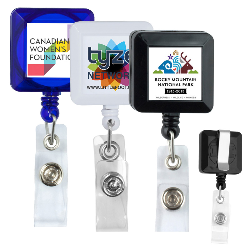"30"" Cord Square Retractable Badge Reel and Badge Holder with Metal Slip Clip Backing"