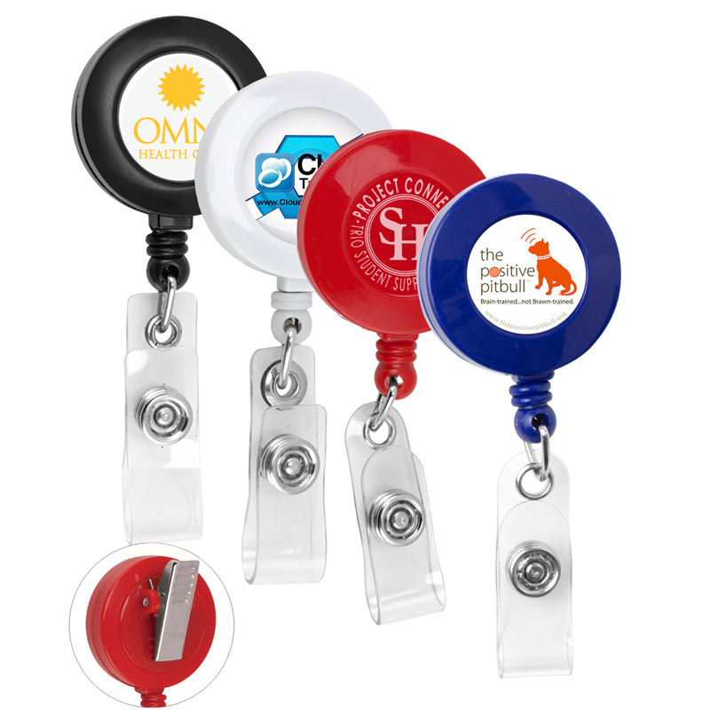 "30"" Cord Round Retractable Badge Reel and Badge Holder with Rotating Alligator Clip Backing"