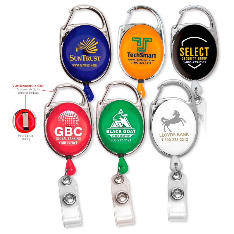 "30"" Cord Retractable Carabiner Style Badge Reel and Badge Holder"