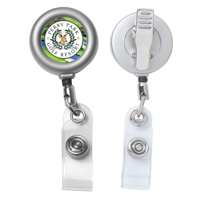 "24"" Cord Round Matte Solid Metal Retractable Badge Reel and Badge Holder"