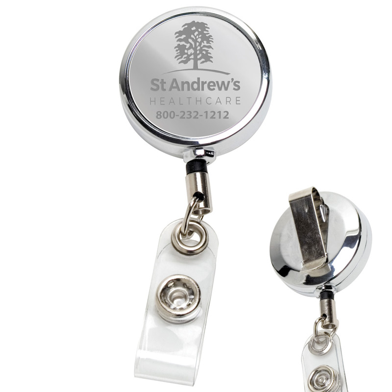 "30"" Cord Chrome Solid Metal Retractable Badge Reel and Badge Holder with Laser Imprint Only (Laser Engraved)"