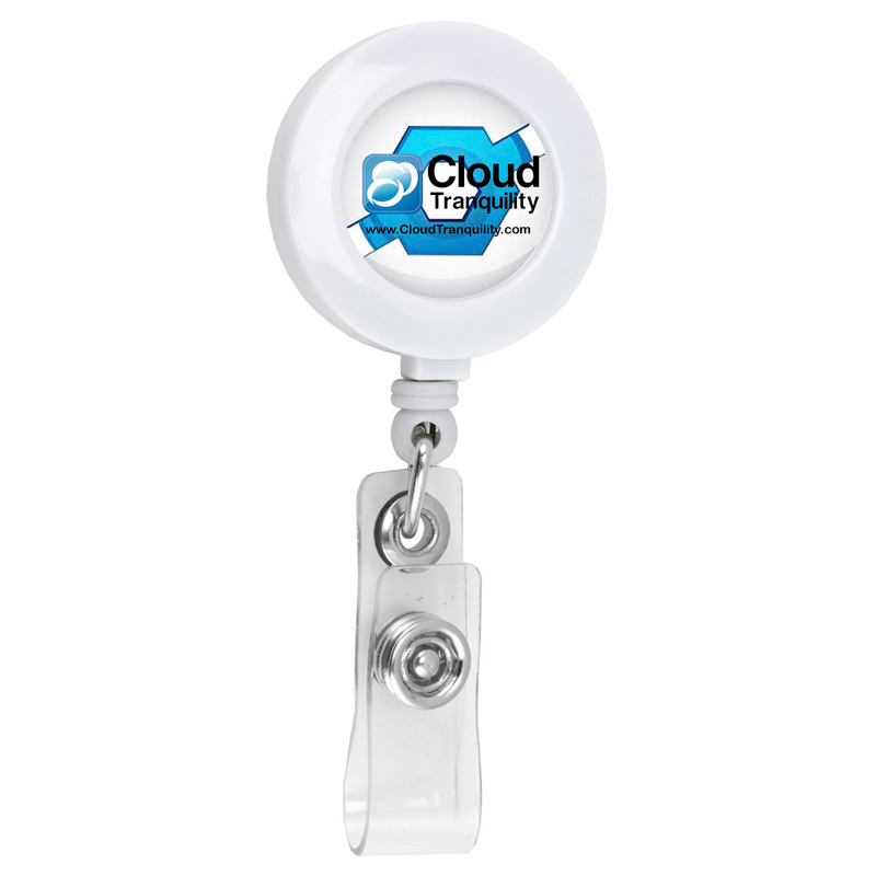 "30"" Cord Round Retractable Badge Reel and Badge Holder with Metal Slip Clip Backing"