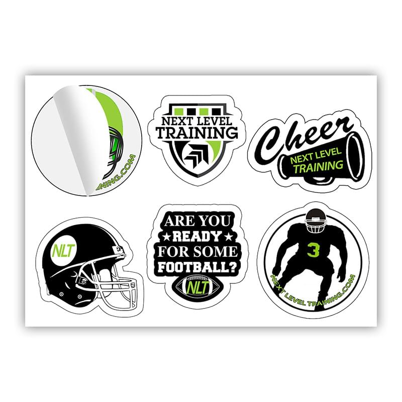 """CustomCut ™"" One-Sheet Full Color Custom Shape Removable Vinyl Sticker/Decals"