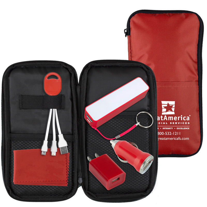 Cell Phone Charger Travel Kit includes Tech Components as shown inserted into Polyester Zipper Pouch
