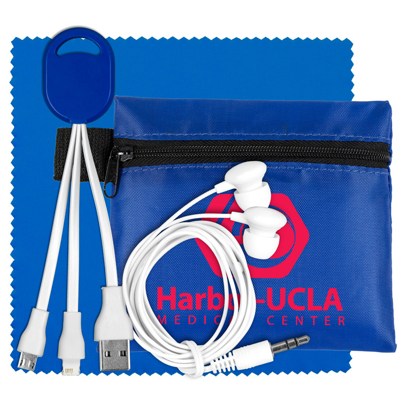 Mobile Tech Charging Cables and Earbud Kit in Zipper Pouch Components inserted into Polyester Zipper Pouch