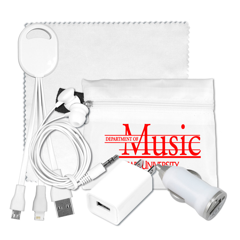 Mobile Tech Home and Auto Charging Kit with Earbuds and Microfiber Cleaning Cloth in Polyester Zipper Pouch Components i