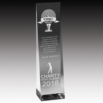 "Angled Obelisk Award - 7 3/4"" (Screen)"