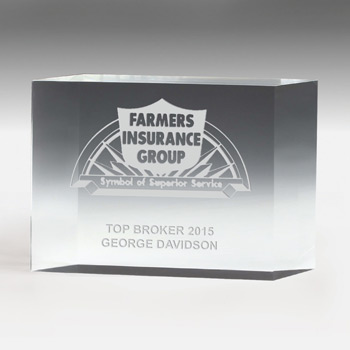"4"" Thick Freestanding Acrylic Awards - 4"" (Laser)"