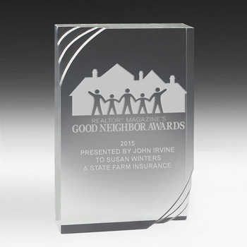 "1 1/4"" Thick Freestanding Acrylic Awards - 5 1/2"" (Full Color)"