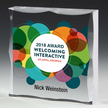 "Scalloped Acrylic Paperweight Awards - 4"" x 4"" x 3/4"" (Full Color)"