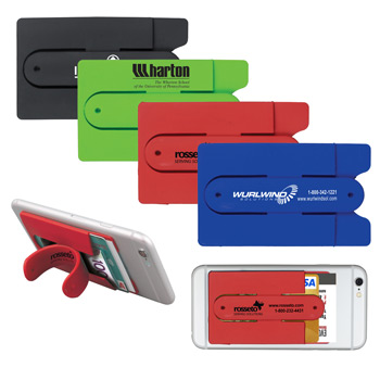 """Kickstart""? Two Function Soft Silicone Cell Phone Kickstand & Wallet"