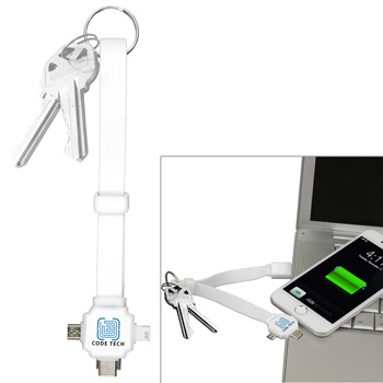 """Triple""? 3-in-1 Charging Cable Keyholder for Cell Phones and Tablets with Type C Connector (Spot Color)"