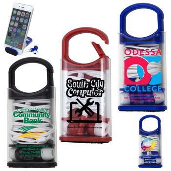 """Excell""? Earbud Headphones, Phone Cleaner and Phone Stand in Carabiner Case"