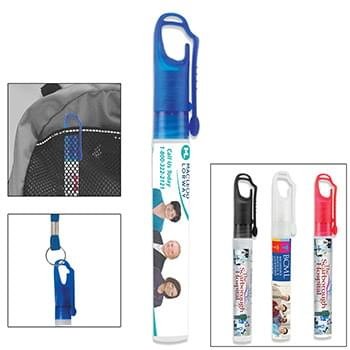 10 ml. Antibacterial Hand Sanitizer Spray Pump Bottle with Carabiner Clip Cap (PhotoImage Full Color)