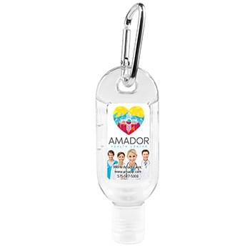 1.8 oz Hand Sanitizer Antibacterial Gel in Flip-Top Bottle with Carabiner (PhotoImage Full Color)