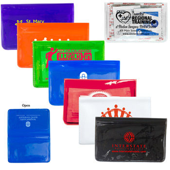 10 Piece Economy First Aid Kit in Colorful Vinyl Pouch