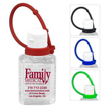 0.5 oz Compact Hand Sanitizer Antibacterial Gel in Flip-Top Squeeze Bottle with Colorful Silicone Leash