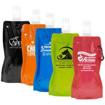 18 oz Foldable and Reusable Water Bottle with Matching Carabiner