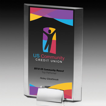 Rectangular Beveled Award w/ Chrome Base (Full Color)
