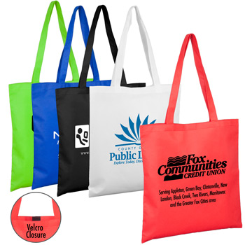 "15""W x 16""H -""Catalina"" Day Tote & Shopping Bag with Hook and loop Fastener Closure"