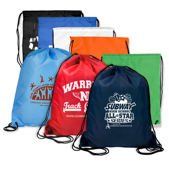 "14-1/2""W x 17-1/2"" H - 210D Polyester Drawstring Cinch Pack Backpack"