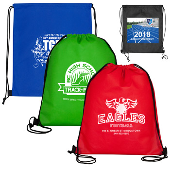 "13"" W x 16"" H - 'Economy' Drawstring Cinch Pack Backpack"
