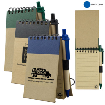 Recycled Jotter Notepad Notebook with Matching Color Recycled Paper Pen
