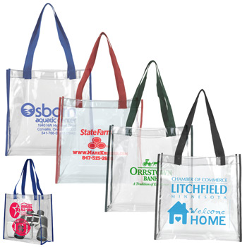 "12"" W x 12"" H x 6"" Gusset - Clear Vinyl Stadium Compliant Tote Bag"