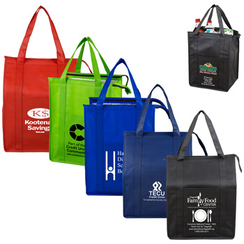 "12"" W x 16"" H x 10"" G - ""Super Cooler""? Large Insulated Cooler Zipper Tote Bag"