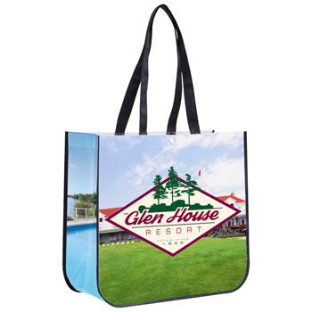 "15-3/4"" W x 14-1/2"" H - ""Meghan""? Non-Woven Full Color Laminated Wrap Carry All Tote Bag"