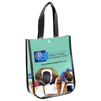 "9-1/4"" W x 12"" H - ""Lauren""? Small Non-Woven Full Color Laminated Wrap Carry All Tote and Shopping Bag"