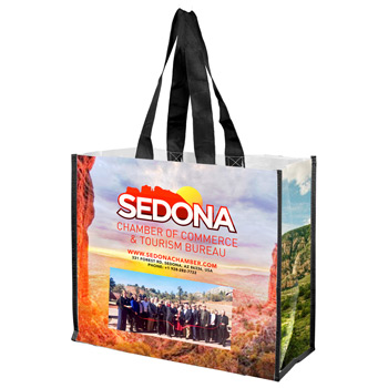 "17"" W x 14"" H - 'Wendy' Full Color Laminated Woven Wrap Tote and Shopping Bag"