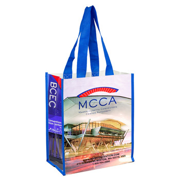 "12"" W x 14"" H - ""Nicole""? Full Color Laminated Woven Wrap Tote and Shopping Bag"