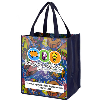 "13"" x 15"" Full Color Glossy Lamination Grocery Shopping Tote Bags"