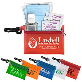"""Everything Essential"" Mask & Sanitizing Protection Pack in Translucent Zipper Pouch With Plastic Hook Attachment"