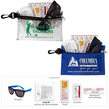 """CHIP"" 14 Piece Golf Kit in Supersized Zipper Pouch Components inserted into Zipper Pouch with Plastic Carabiner Attachm"