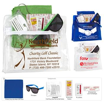 """Layover"" 15 Piece Golf Kit in Travel Pouch with Zipper Components inserted into Zipper Pouch"
