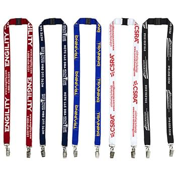 "3/4"" Dual Attachment Polyester Silkscreen Lanyard with FREE Breakaway Safety Release"