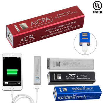 """In Charge Alloy"" UL Listed Aluminium 2200 mAh Lithium Ion Portable Power Bank Charger"